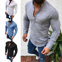 Spring Autumn Men's V-Neck Tops Long Sleeve Cotton Linen Shirt Slim Fit T-Shirt