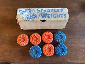 Vintage American Shuffleboard SPARKLER WEIGHTS. Box Of 8.