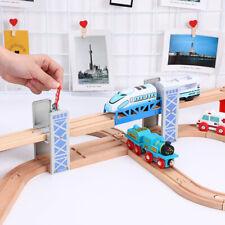 De madera de dos pisos Bridge Overpass Juguete Accesorios de escena de ferrocarril de pista de Tren de bricolaje