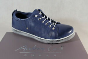 Andrea Conti Ladies Slippers Sneakers Low Shoes Trainers Leather Blue New