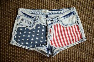"""Gypsy Junkies Shorts US Flag Distressed Denim - Sz L - 32"""" Waist, 2"""" inseam"""