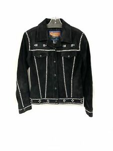 Cripple Creek Women's Leather Suede Sz Small Bedazzled Studded Coat Jacket