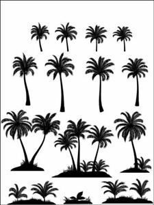 Palm tree silhouette plants nature Edible Printed Cake Topper Kit Wafer or Icing