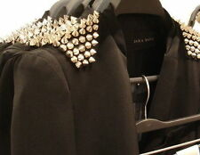 GENUINE ZARA STUD STUDDED SPIKE LONG LINE BLAZER JACKET COAT NEW SMALL S RARE