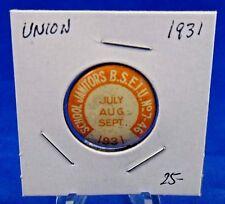 "1931 School Janitors B.S.E.I.U 7-46 July-September Union Pin Pinback Button 7/8"""