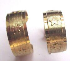 boucles d'oreilles percées couleur or bijou vintage anneaux gravés étoiles 3049