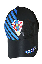 CROATIA BLACK WITH BLUE STRIPES HNS LOGO FIFA WORLD CUP  EMBOSSED HAT CAP .. NEW