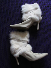 Fabulous Nine West white suede soft fur trimmed high heeled boots