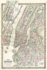 MAP ANTIQUE 1865 COLTON NEW YORK CITY PLAN LARGE REPLICA POSTER PRINT PAM1845