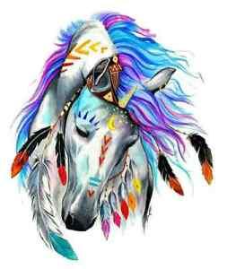 horse head american indian head dress iron on t shirt transfer A5
