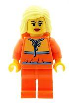 LEGO biondina minifigura in arancione DONNA TUTA RAGAZZA NUOVA donna