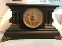 Antique E. INGRAHAM CO. Black and Gold MANTLE CLOCK