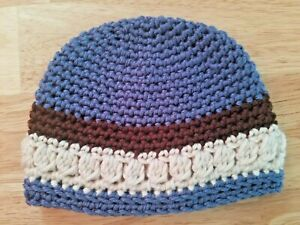 New! Handmade Crochet Baby Beanie  - 0 - 3 months, blue, brown, cream