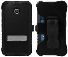 Black Tri-Shield Case Cover Belt Clip Holster Stand For Motorola Moto-E 1st Gen