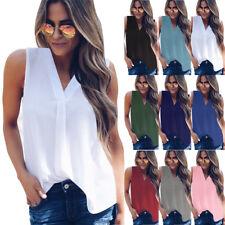 Plus Size UK 6-24 Womens Summer Chiffon Sleeveless OL T Shirt Blouse Ladies Tops