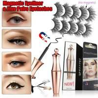 Magnetic liquid Eyeliner with Natural 5 Pairs False Eyelashes Kit , Easy to Wear