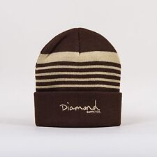 Diamond Supply Co Brown Striped Fold Beanie with Embroidered Og Script Logo Tan