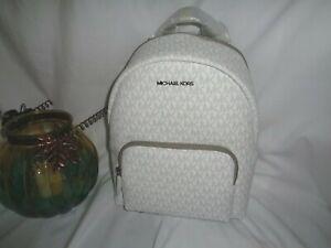 Michael Kors Erin Medium Backpack Bright White MK Logo Messenger Handbag