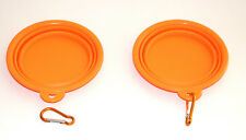 PET BOWL FOR CATS AND DOGS 2 PIECES IDEAL FOR TRAVEL orange COLLAPSIBLE *NEW*