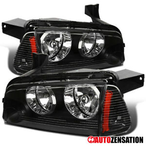 For 2006-2010 Dodge Charger Black Headlights+Corner Signal Lamps+Amber