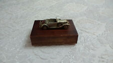 Vintage Wood Playing Card Box Trinket Box With Metal Car on Top 16cm 6""