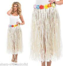 "Ladies Hawaiian Hula Girl Grass Skirt Fancy Dress Costume 24-50"" Waist Plus Size"