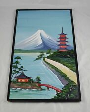 "Original Acrylic Painting On Board Asian Theme Mountain Buildings 16""x26"" BB1O6"