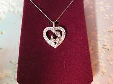 SETA STERLING SILVER HEART MOTHER & CHILD DIAMOND NECKLACE