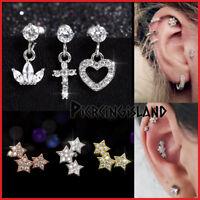 Opal Crystal Dangle Ear Climber Cartilage Helix Stud Ring Bar Piercing Earring