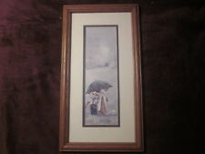 "VERY NICE STEVE POLOMCHAK AMISH SCENE MATTED AND FRAMED PRINT 9 1/2"" X 17 1/4"""