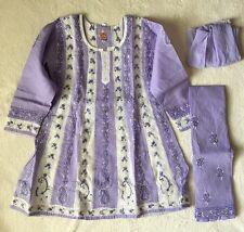 NWT Girls Chikan Lucknowi Shalwar Kameez Suit 6T Anarkali Cotton Lavender