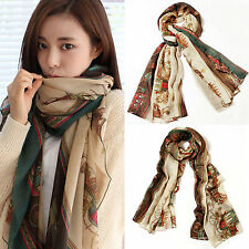 Women Ladies Long Soft Cotton Voile Scarf Wrap Froral Print Shawl Scarves Stole