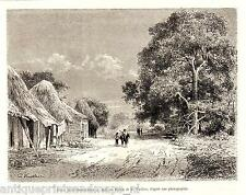 Antique print Darien Panama Darién Panamá canal 1880 Savannah route houses