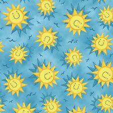 Animal Farm cotton quilt fabric Quilting Treasures Tossed Smiling Sun on Blue