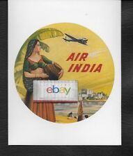 AIR INDIA DOUGLAS DC-3 REPRO BAGGAGE LABEL LADY BY THE RIVER