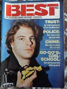 BEST N° 162 janvier 1982 TRUST POLICE, GO-GO'S, GIRL SCHOOL + Poster BOWIE QUEEN
