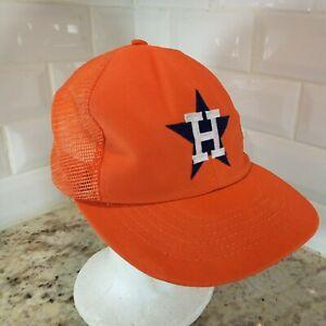 Vintage 80s 90s Houston Astros SnapBack Mesh Hat Cap Plain Logo Orange