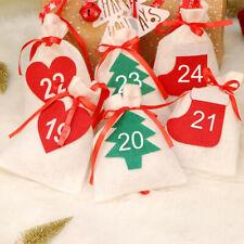 Kids Christmas Countdown Date1-24 Calendar  Fabric Gift Bags Hanging