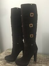 $1.5k  Prada Brown Suede Lather Tall Boots 38.5