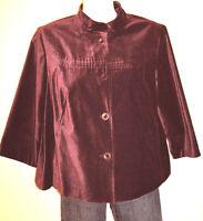 J. Jill Women's Dark Red Violet A-Line Wrist Sleeve Short Jacket Size Medium