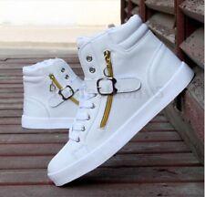 Uomo Scarpe High Top Alte Lacci Up Ginnastica Cerniera Sneakers Sport Casual
