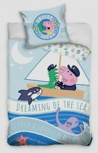 """PEPPA PIG GEORGE """"SNOOZE SQUAD """" Cot Bed Set Toddler Duvet Cover 100% cotton !!!"""