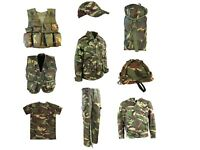 Kids Army T Shirt Trousers Vest Helmet Cap Coat Bag Boys Fancy Dress DPM Camo UK