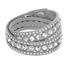 Adjustable Grey Crystal Double Wrap Slake Bracelet Made with Swarovski Elements