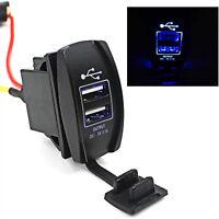 1PC Blue LED Truck Boat Car Auto Backlit Rocker Switch 12V-24V Dual USB Charger