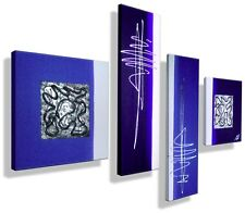 MK1 Art Bild Leinwand Abstrakt Gemälde Kunst  Malerei Bilder Acryl  XXL blau