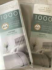 2 X Luxury Hotel Collection 1000 Oxford Pair pillowcase's Light Grey BNIP