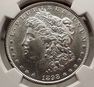 1898 MORGAN SILVER DOLLAR United States of America USA Coin NGC MS 62 i57739