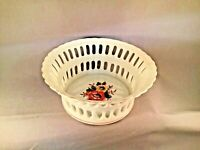 VINTAGE RETICULATED WHITE PORCELAIN BOWL BEAUTIFUL FLORAL MADE IN JAPAN