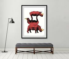 GILLIE AND MARC-direct from artists-authentic coral red Rhino Art print